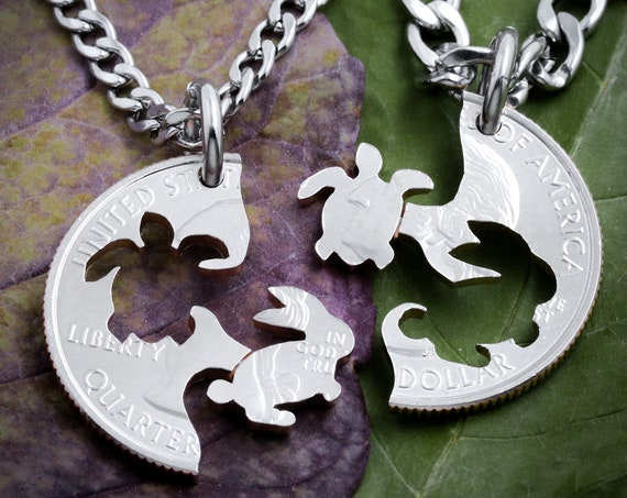 Turtle and Bunny Rabbit Necklaces, Interlocking Best Friend, BFF, and Couples Gifts, Animal Jewelry Set, Hand Cut Coin