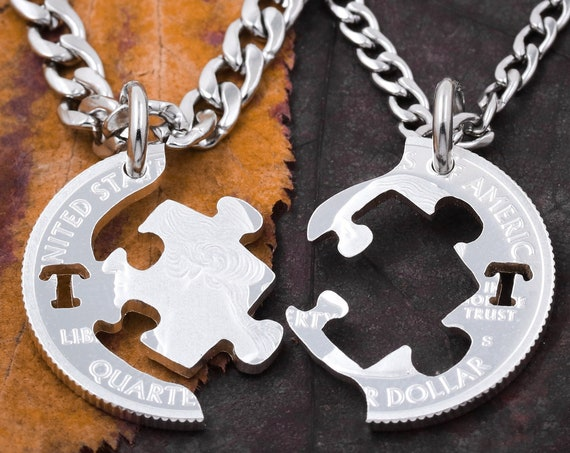 Custom Initial Puzzle Piece Necklaces, Couples and BFF Jewelry, Relationship and Friendship Interlocking Coin, Autism Gift, hand cut coin