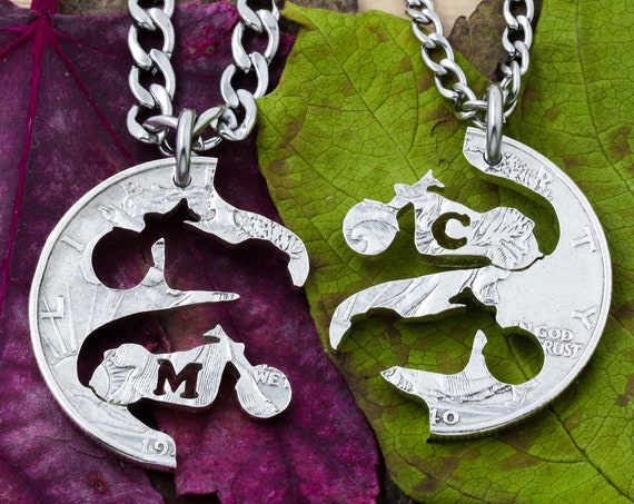 Motorcycles with Custom Cut Initials Harley Inspired Bikers Couples Necklaces, Hand Cut Coin
