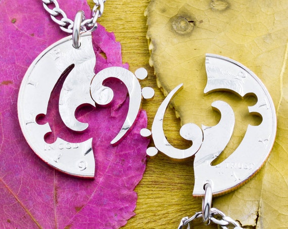 Interlocking Up and Down Bass Clef Necklaces, Couples or Best Friend Gifts, Musician Band Player, Relationship Jewelry, Hand Cut Half Dollar
