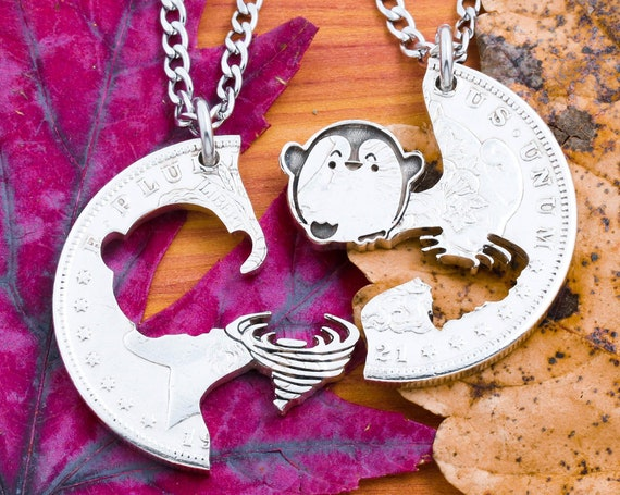 Penguin and Tornado Necklace, Cartoonish Jewelry for Best Friends or Couples, Interlocking Engraved Animals, Hand Cut Coin