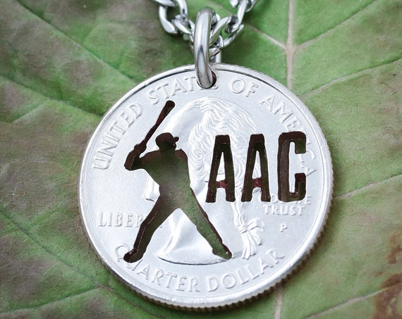 Personalized Baseball or Softball Batter Necklace, Custom Initials or Jersey Number, Summer Season, Man or Woman, Hand Cut Coin