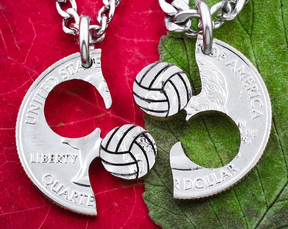 Volleyball Split Necklaces, Best Friends Jewelry, Athletic Sports Gift, BFF and Friendship, High School, Hand Cut Coin