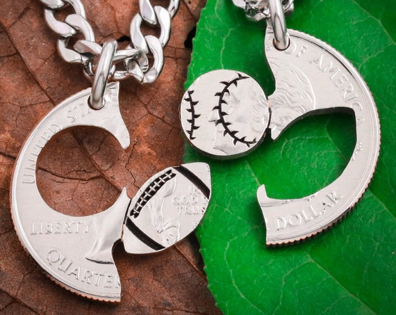 Football and Baseball Split Necklaces, Relationship Best Friend Jewelry, Softball Sports BFF and Friendship, High School Gift, Hand Cut Coin