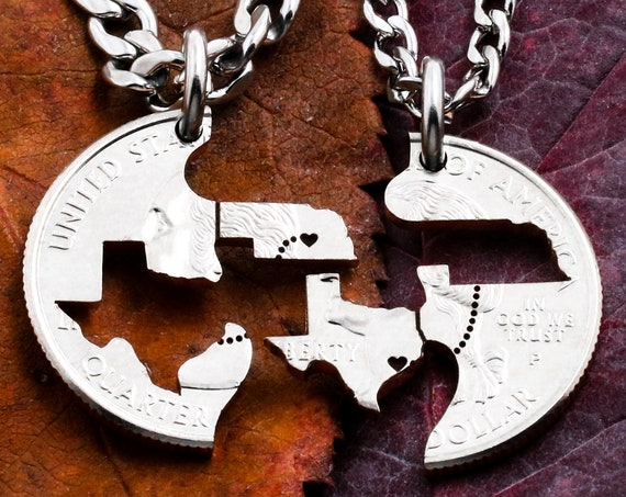 Personalized Long Distance Gift, State to State Relationship Necklaces, Heart on your cities, Hand Cut Coin Jewelry