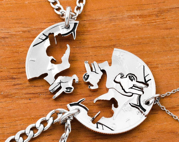 3 Piece Sloth Necklaces, Three Sloths Friends Jewelry, Family Gifts, Interlocking Engraved, Hand Cut Coin