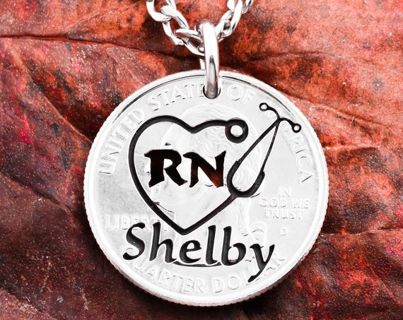 Stethoscope Heart Necklace, RN Jewelry, Engraved Name, Medical Profession Gift, Hand Cut Coin