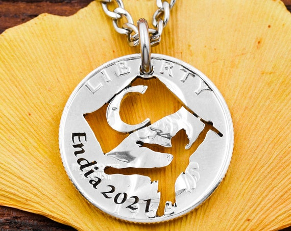 ColorGuard Initial Necklace, Engraved Name and Date, Girl's and Women's Jewelry, Sports Coin Jewelry, Hand Cut Coin
