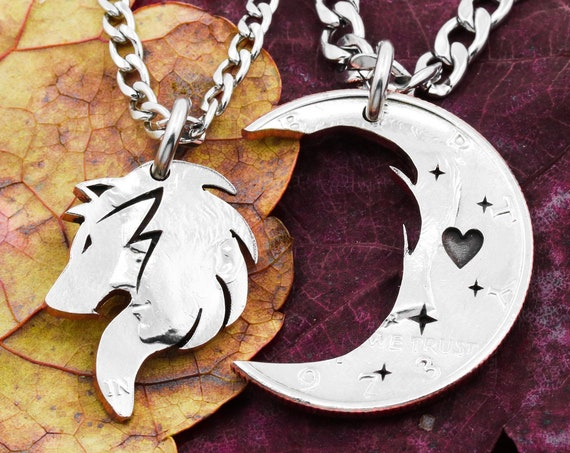 Wolf and Moon Coin necklaces, couples hand cut connecting pendants