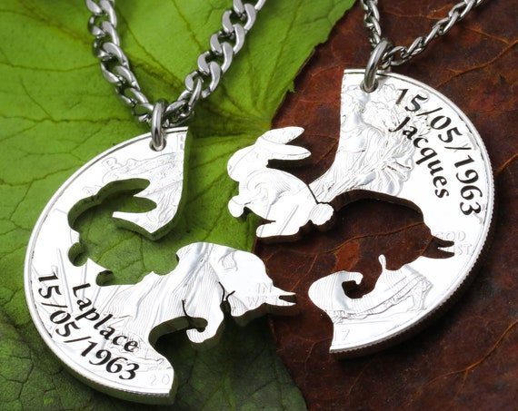 Bunny and Bull Couples Gift, Best Friend Jewelry, Custom Engraved Names and Dates, Hand Cut Coin