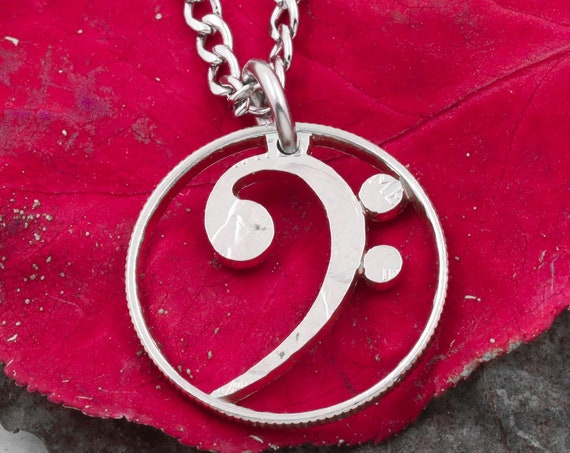 Bass Clef Necklace, Hallowed Out Music Note, Musician Jewelry Gift, Cut and Burnished From a Quarter, Hand Cut Coin