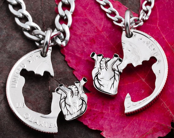 Anatomical Heart Couples Necklaces, Best Friend Heart Gifts, I Carry Your Heart Jewelry, Interlocking Relationship Set, Hand Cut Coin