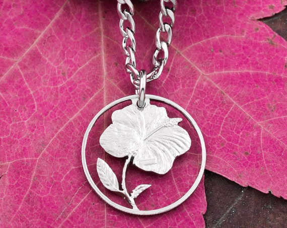 5 Cent Cook Islands Hibiscus Necklace, Copper Nickel, Limited Quantity Available, Hand Cut Coin