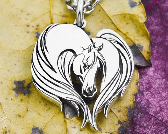 Silver Horse Heart Necklace, Elegantly Engraved Horse Hair and Features, For Girls and Women, Hammered Hand Cut Coin