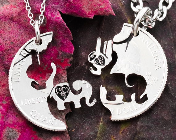 Sloth and Elephant Necklaces, Engraved Hearts, Best Friends Gift, Hanging Sloth with Baby Elephant, Relationship Jewelry, Hand Cut Coin