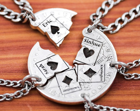 5 Piece Card Necklaces, Custom Engraved Names, Hearts, Diamonds, Spades, BFF Gifts for 5, Playing Cards Jewelry, Hand Cut Coin