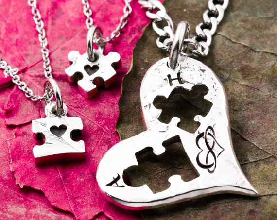 3 Puzzle Necklaces, 2 Puzzle Pieces 1 Heart, Family Heart Puzzle, Three BFF Gifts, Puzzle Pieces Cut From Heart, Personalized, Hand Cut Coin