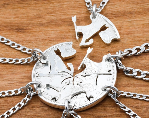 6 Piece Arrow Necklaces, Family or Best Friends Necklaces, Arrows and Silhouettes, Real Silver Dollar