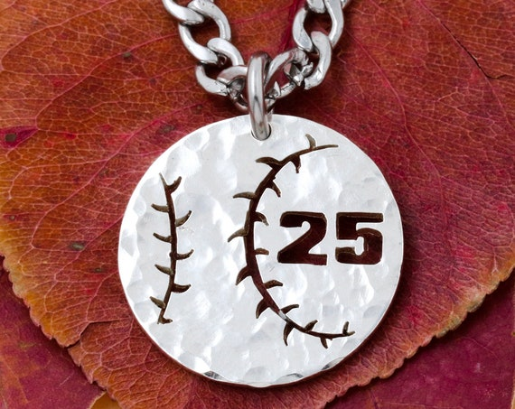 Hammered Silver Baseball Necklace, Custom Jersey Number, Silver Quarter, Hand Cut Coin