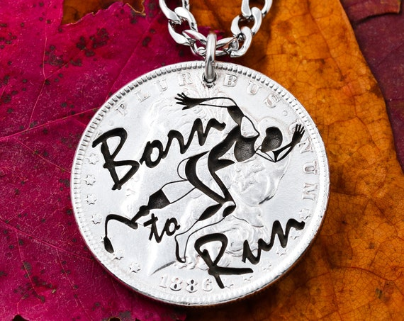 Runners Inspiration Necklace, Born To Run, Prosthetic Leg, Ambitious, Gift Jewelry, Engraved Coin