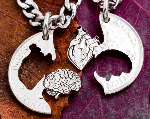 Anatomical Heart Cerebral Couples Necklaces, Best Friend Brain Heart Gifts, I carry your Heart jewelry, hand cut coin