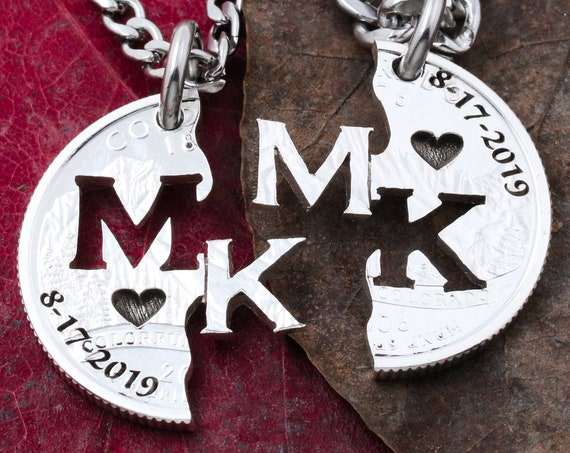 Silver Wedding Couples Necklaces with Custom Anniversary Dates, Initials, and State. Cut by hand from a Mint Silver State Quarter