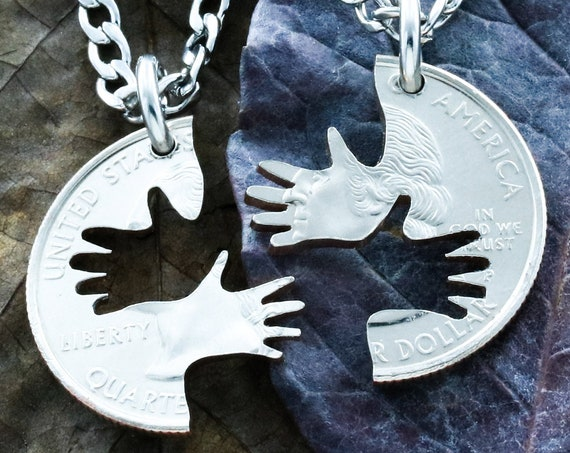 2 Hands Couples and Best Friend Necklaces, BFF Gifts for 2, by Namecoins