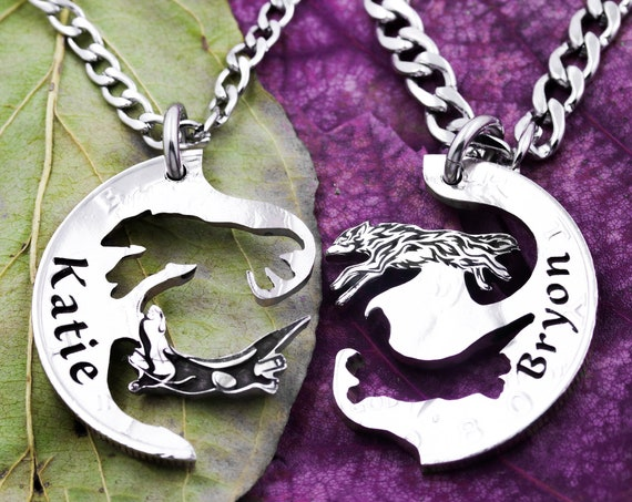 Wolf and Otter Best Friends Jewelry, BFF Interlocking Necklaces, BFF Gifts, Interlocking Puzzle Set, Made From a Hand Cut Coin