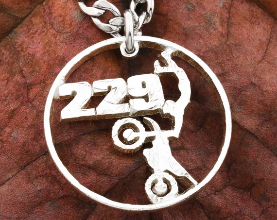 Dirt Bike with Personalized Jersey Number Necklace, Boyfriend Gift, Custom Dirt Bike, Motocross Jewelry, Half Dollar, Hand Cut US Coin