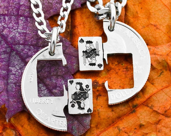Playing Card Necklaces, King and Queen, Couples Gifts, Best Friends Jewelry, King of Spades, Queen of Hearts, Hand Cut Coin