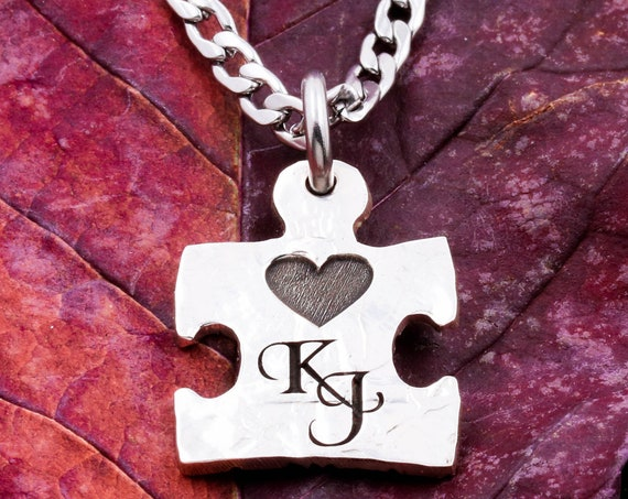 Little Puzzle Piece Necklace with Custom Engraved Cursive Initials and Tiny Heart, Little Love Gifts, Hand Cut Coin