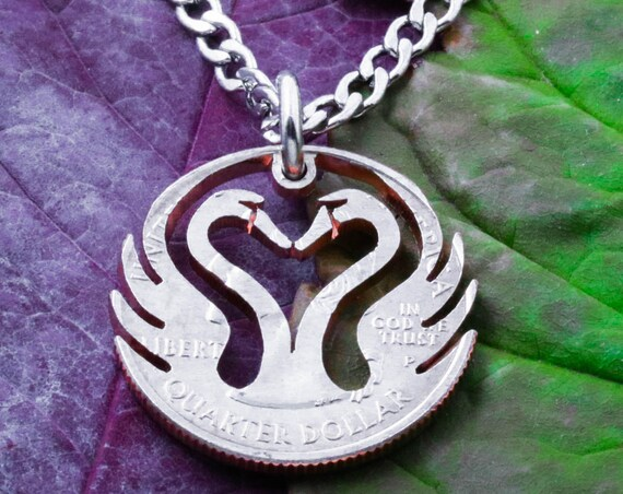 Heart of Swan Necklace, Duck and Goose, Heart Jewelry, Romantic Love Gift, Bird Charm, Hand Cut Coin
