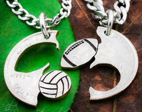 Football and Volleyball Couples Necklaces, Boyfriend and Girlfriend Gifts, Best Friends Jewelry, Sports BFF and Friendship, Hand Cut Coin
