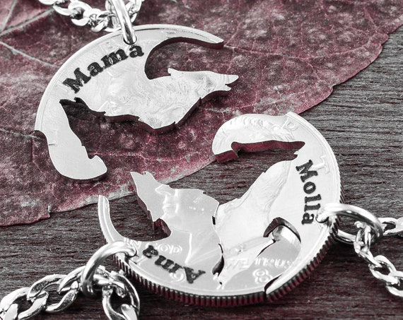 3 Howling Wolves Necklaces with Custom Names, Family Jewelry, Interlocking Hand Cut Coin