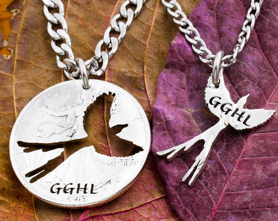 Bird Necklaces with Personalized Initials or Name, His and Her Relationship Jewelry, BFF Gifts, Hand Cut Coin