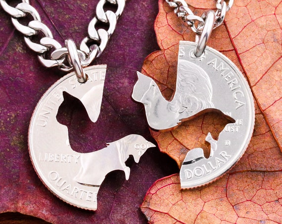 Cat and Fox Couples Necklaces, Best Friends or Couples Gifts, BFF Gift, Animal Jewelry, Hand Cut Coin