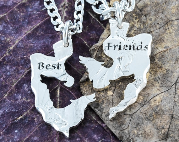 Best Friend Wolf Necklaces on an Arrowhead Shaped Coin, For Friends and Couples, Interlocking Hand Cut Coin