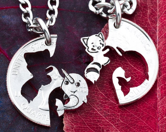 Red Panda and Narwhal Best Friends Necklaces, Hand Cut Coin