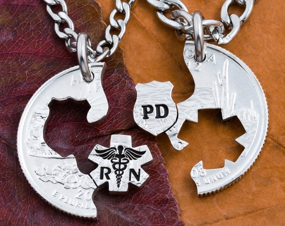 Police Shield and RN Nurse Couples necklaces, Badge and Star of life, Relationship Jewelry, His and Her, Interlocking Hand cut coin