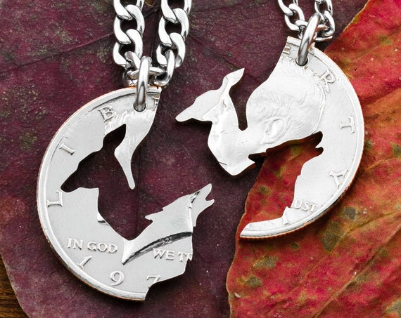 Wolf and Doe Couples Necklaces, Howling Wolf Alert Doe, Doe and Wolf, Best Friends or Couples Jewelry, BFF Gift, Hand Cut Coin