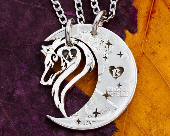 Lone Wolf and Moon Necklaces with Custom Engraved Initials in Tiny Hearts, Stars and Moon, Couples Hand Cut Coin Jewelry