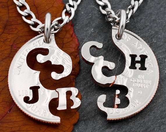 Custom Initials Necklaces, Best Friends or Couples Gifts, Monogram Jewelry, Hand Cut Coin