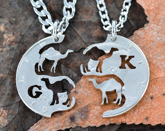 Camel Couples Necklaces, His and Her Dromedary Relationship Jewelry, with initials, hand cut coin