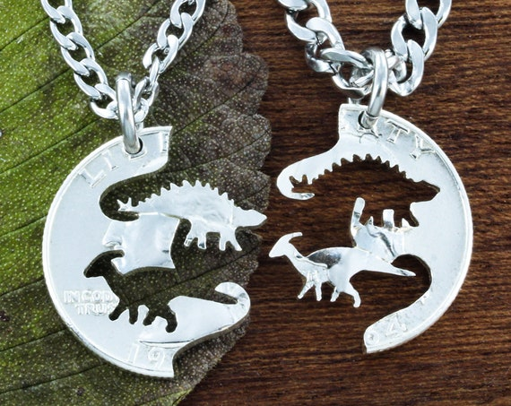 Dinosaur BFF Necklaces, Spike and Ducky Best Friends Gifts, Parasaurolophus and Stegosaurus, Hand Cut on a Quarter
