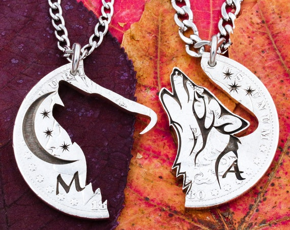 Howling Wolf, Moon and Stars Necklaces, Engraved Initials, Couples Bespoke Relationship or Best Friends Jewelry, Hand Cut and Engraved Coin