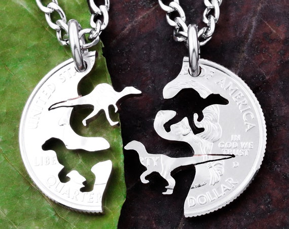 Dinosaur Raptors Best Friends Necklaces, Kid Jewelry, BFF Gifts, Hand Cut Coin