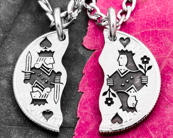 Playing Card Necklaces, King and Queen, Best Friends Jewelry, Couples Gifts, King of Spades, Queen of Hearts, Hand Cut Coin