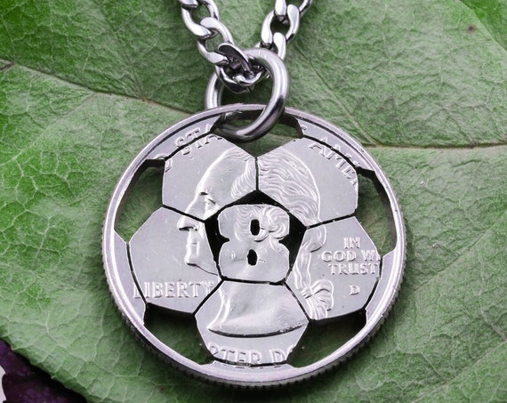Soccer Necklace with Custom Jersey Number, Sports Jewelry For Boys and Girls, Soccer Gifts, Hand Cut Coin