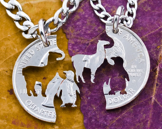 Llama and Penguin Best Friends Necklaces, BFF Gift, Friendship Animal Jewelry, Long Distance Couples, Personalized Hand Cut Coin