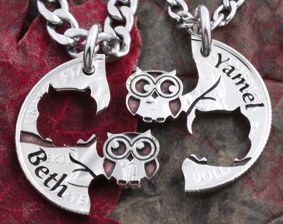 Bespoke Owl Necklace Gift for Best friends and Couples, Custom Names, Personalized Engraving, Hand Cut Coin